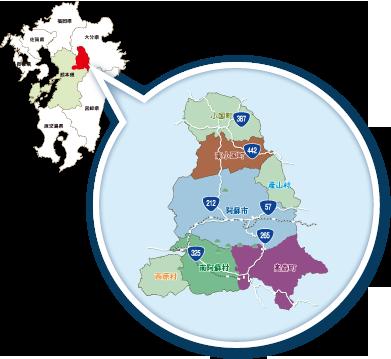 阿蘇地域の地図